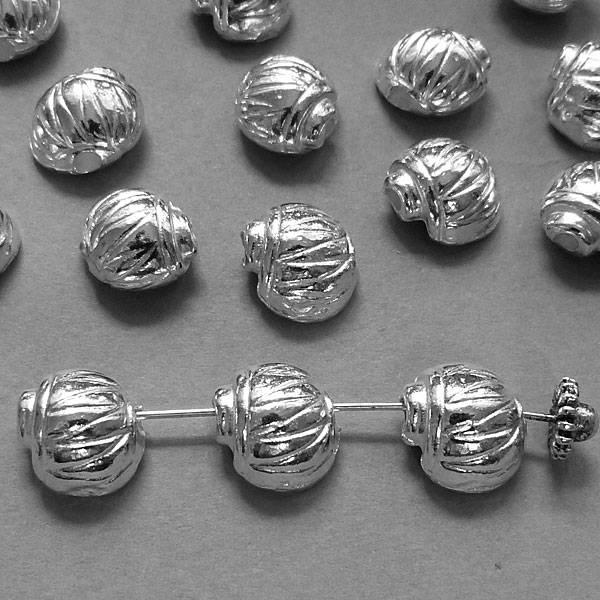 Muschel Perle versilbert - 12 mm