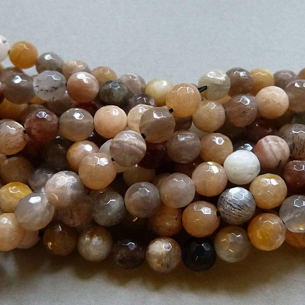 Mondstein Perle 6,3 mm - facettiert