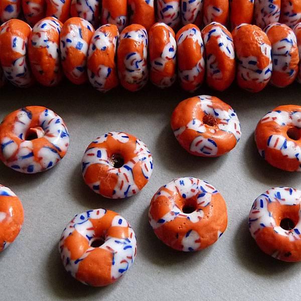 Glas Pulver Donat 12 mm - orange/weiß/blau