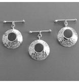 Knebel Verschluss Silber gehämmert 25 mm