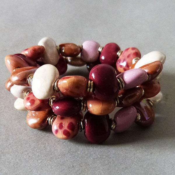 Kazuri Perlen Armband - beere