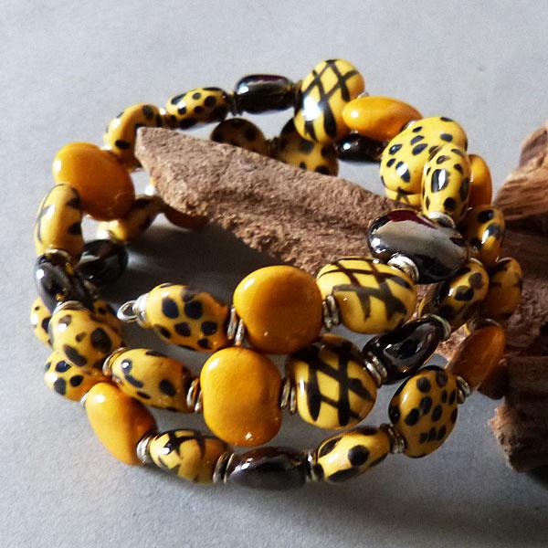 Kazuri Perlen Armband - gelb