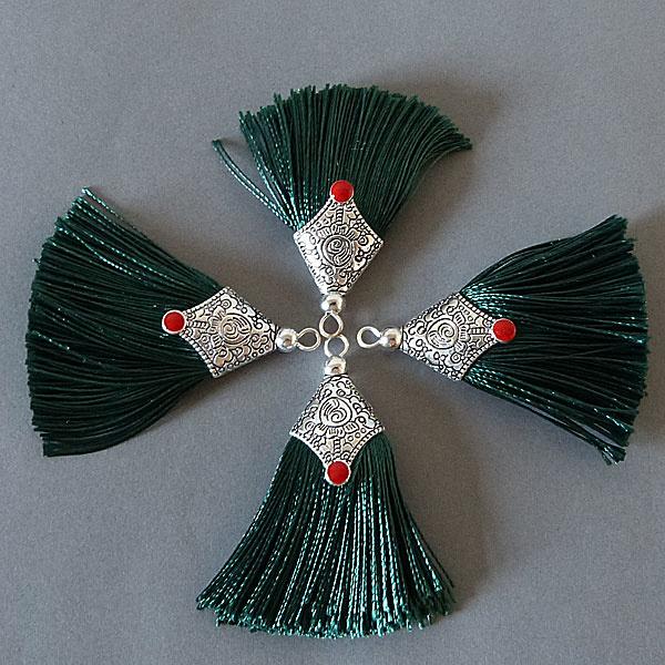 Quaste - tannen grün - 45 mm