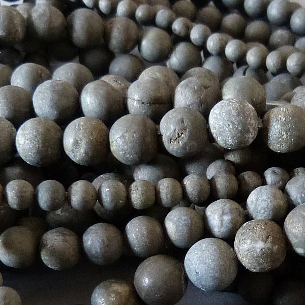 Pyrit Perle 10 mm  - matt