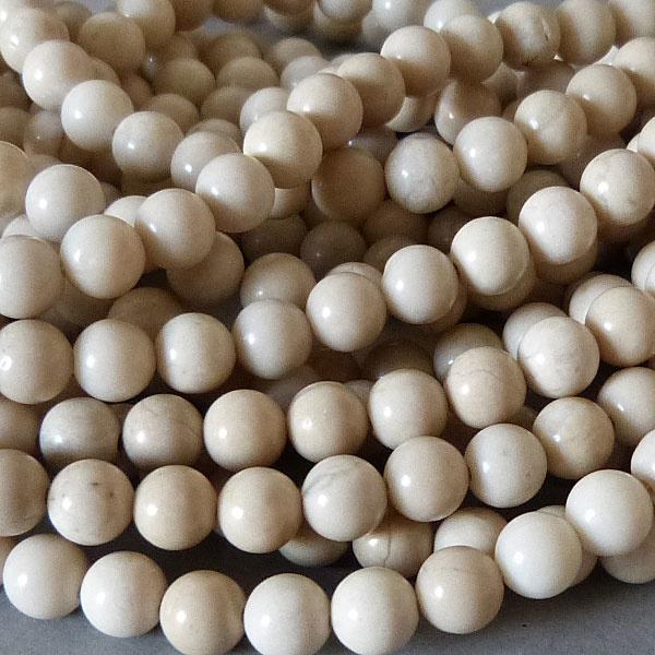 Jaspis Perle creme weiß 6,5 mm