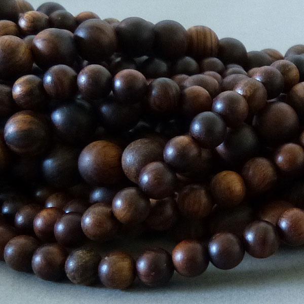 Sandelholz Perle 6,2 mm - dunkelbraun
