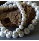 Süßwasser Perlen Armband - weiss - 8 mm Perlen