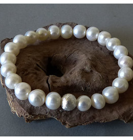 Süßwasser Perlen Armband - weiss