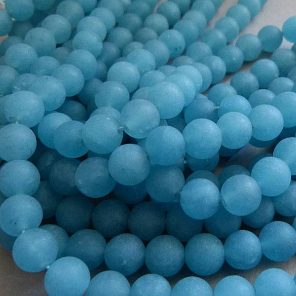 Blau Quarz Perle 6,6 mm - matt