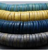 Holz Scheiben Strang - petrol blau