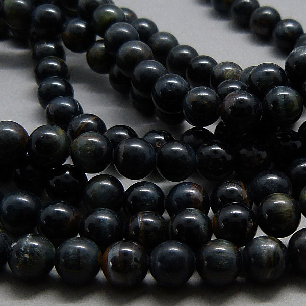 Tigerauge Perle blau 6 mm