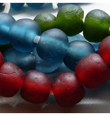 Glas Perle 15 mm  - Moos grün