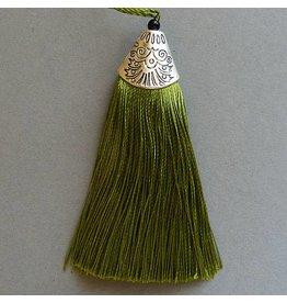Quaste - gras grün - 80 mm
