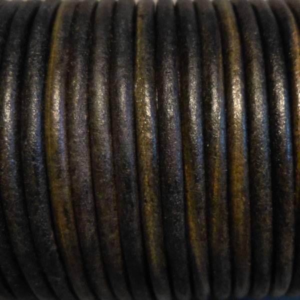 Lederband oliv, rund - 4 mm