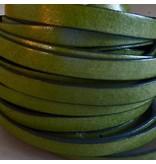 Lederband Pistazie, flach - 10 mm