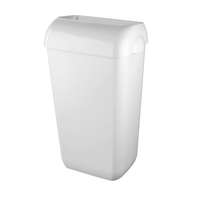 Euro pearl white afvalbak kunststof 23 ltr. met muurbev. set // voorzien van open inworp