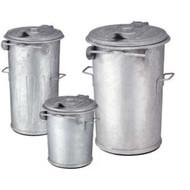 Afvalbak staalverzinkt 70 liter m/deksel Ø50cm H 63cm