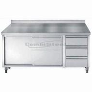 Werktafel met schuifdeuren, laden en opstaande rand 1800x700x850/900
