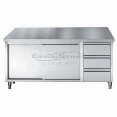 Werktafel met schuifdeuren en laden1800x700x850/900
