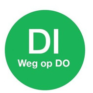 Afwasbare sticker 'di weg op do' 19 mm 500/rol