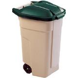 Verrijdbare afvalbak  100ltr. Beige m/groene deksel