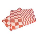 Koksdoek Volendam rood blok 65x65cm 100% katoen pak à 6