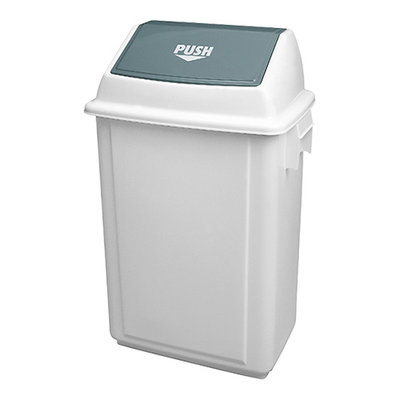 Afvalbak m/tuimeldeksel wit kunststof 64(H)x44x30cm 50ltr