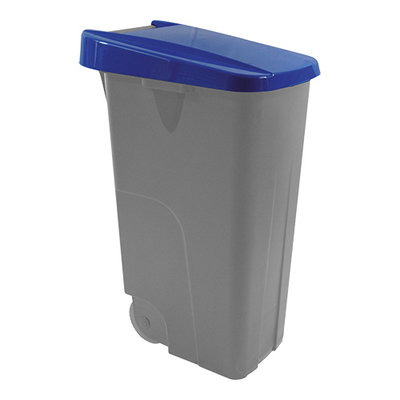 Afvalcontainer 85 liter verrrijdbaar met blauwe deksel