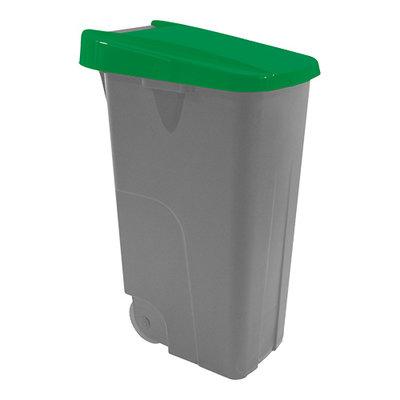 Afvalcontainer 85 liter verrrijdbaar met groene deksel