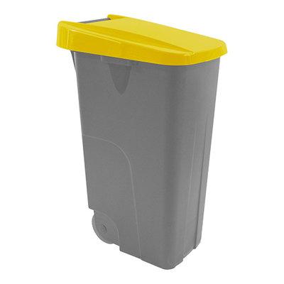 Afvalcontainer 85 liter verrrijdbaar met gele deksel