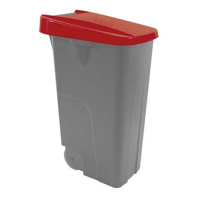 Afvalcontainer 85 liter verrrijdbaar met rode deksel