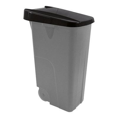 Afvalcontainer 85 liter verrrijdbaar met zwarte deksel