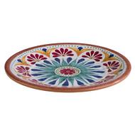 Melamine Arabesque bord plat Ø21,5cm H2cm binnen terracotta look buiten dekor.
