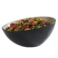Melamine Frida bowl  Ø28,5x10/14(h)cm 2,6ltr Buitenzijde zwart binnenzijde houtlook