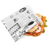 """Hamburger/pizza zakjes """"Times"""" vetvrij papier 2-zijden geopend  afm: 17x18cm pak à 500"""