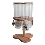Dispenser houten standaard, polycarbonaat vultrechters 3x 1,5ltr 43(H)x26x26cm