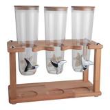 Dispenser houten standaard, polycarbonaat vultrechters 3x 1,5ltr 43(H)x20x44cm