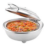 Chafing dish elektrisch rvs rond m/glazen deksel 25(H)x51x45cm 6,8ltr incl. elektrisch verhittingselement 230V 360W