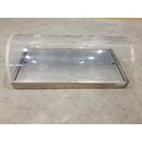 Buffetvitrine gekoeld roll-top afm: 90x46x31cm BxDxH rvs basis met plexiglas rolltop. beide zijden opklapbaar. Occasion