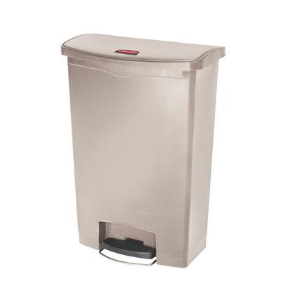 Afvalbak Front Step 90 liter beige merk  Rubbermaid met pedaal verrijdbaar