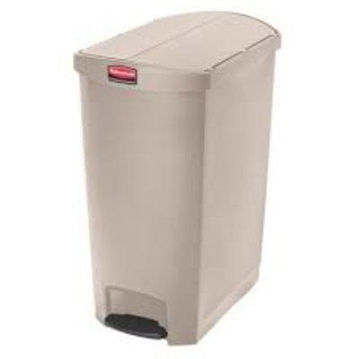 Afvalbak Slim Jim 90 liter beige end step merk  Rubbermaid met pedaal verrijdbaar