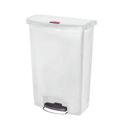 Afvalbak Slim Jim 90 liter wit merk  Rubbermaid met pedaal verrijdbaar