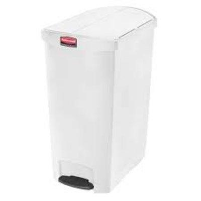 Afvalbak Slim Jim 90 liter wit end step merk  Rubbermaid met pedaal verrijdbaar