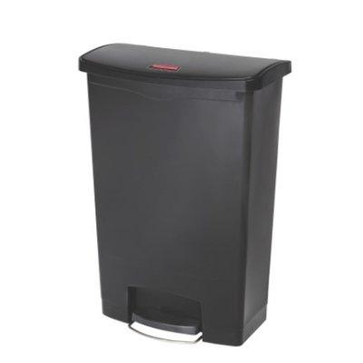 Afvalbak Slim Jim 90 liter zwart merk  Rubbermaid met pedaal verrijdbaar