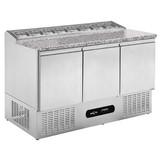 Pizza koelwerkbankmet 3 deurs en graniet werkblad 1320x700x830mm merk Mercatus