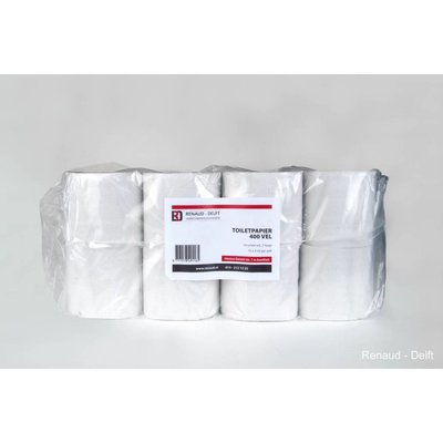 Toiletpapier 2 laags 400 vel wit à 40 rol recycled wit