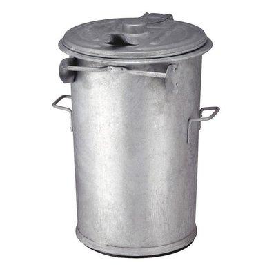 Afvalbak staalverzinkt 110 liter m/deksel Ø51cm H 95cm