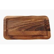Acacia presentatieplank rechth. m/gleuf 30x15x2cm per stuk