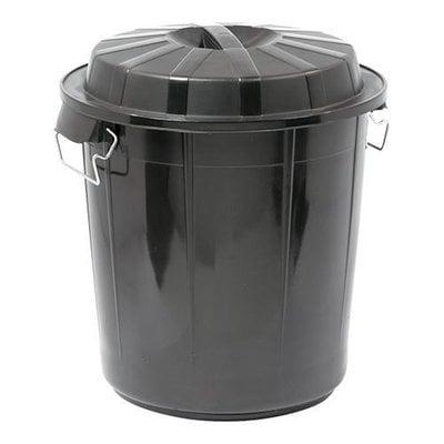 Afvalvat m/afsluitbare deksel zwart kunststof 50ltr