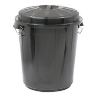 Afvalvat m/afsluitbare deksel zwart kunststof 70ltr